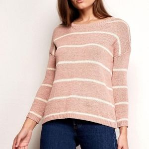 BB Dakota Sweaters - BB Dakota Pink Daniel Striped Pullover Sweater -XS